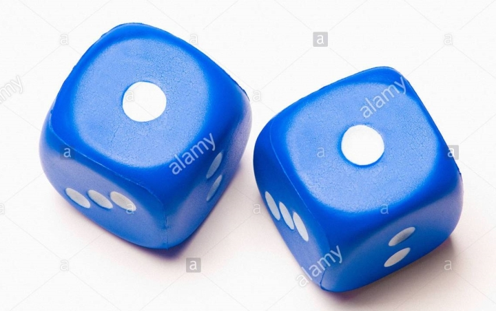 two-blue-dice-showing-double-one-A9DPPH